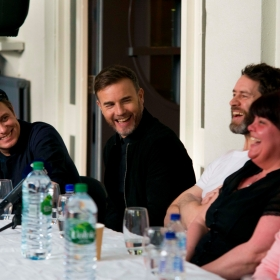 Mark Owen, Gary Barlow & Howard Donald at The Band launch on 2 April 2017 at Manchester Apollo. © Matt Crockett