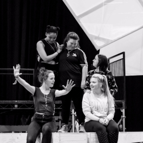 Kate Howarth, Rachelle Diedericks, Faye Christall, Katy Clayton & Lauren Jacobs in rehearsal for The Band. © Matt Crockett