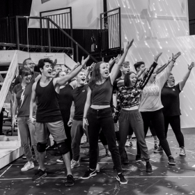 The cast in rehearsal for The Band. © Matt Crockett