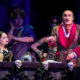 Carrie Hope Fletcher & Cameron Blakely in The Addams Family. © Matt Martin
