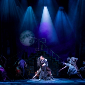 Samantha Womack, Cameron Blakely & cast in The Addams Family. © Matt Martin