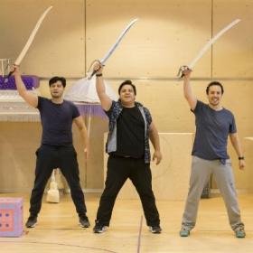 Stephen Rahman-Hughes, Nathan Amzi and Rachid Sabitri in Aladdin rehearsals. © Johan Persson