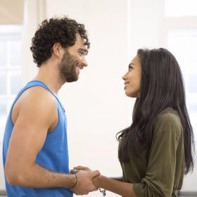Matthew Croke (Aladdin) and Jade Ewen (Jasmine) in Aladdin rehearsals © Johan Persson