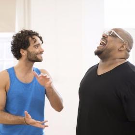 Matthew Croke (Aladdin) and Trevor Dion Nicholas (Genie) in Aladdin rehearsals © Johan Persson