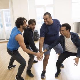 Matthew Croke (Aladdin), Daniel de Bourg (Kassim), Leon Craig (Babkak) & Miles Barrow (Omar) in Aladdin rehearsals © Johan Persson