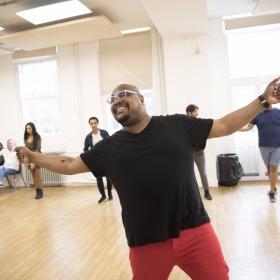 Trevor Dion Nicholas (Genie) in Aladdin rehearsals © Johan Persson