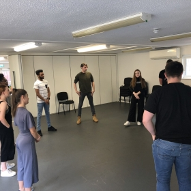 Rehearsals for JR Theatre's revival of Boogie Nights at Upstairs at the Gatehouse, July 2019