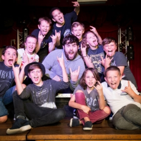 David Fynn & School of Rock kids at the show's press launch