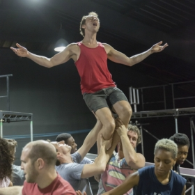 Peter Caulfield and the cast in Jesus Christ Superstar rehearsals