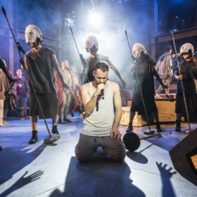 Declan Bennett and cast in Jesus Christ Superstar