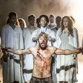 Tyrone Huntley, Declan Bennett and cast in Jesus Christ Superstar