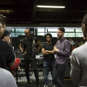 Director Timothy Sheader and the cast in Jesus Christ Superstar rehearsals