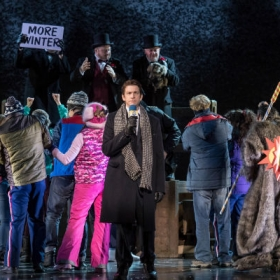 Andy Karl and the cast in Groundhog Day at the Old Vic