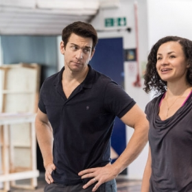 Andy Karl and Carlyss Peers in Groundhog Day rehearsals