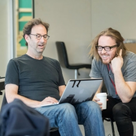 Danny Rubin (book) and Tim Minchin (music & lyrics) in Groundhog Day rehearsals