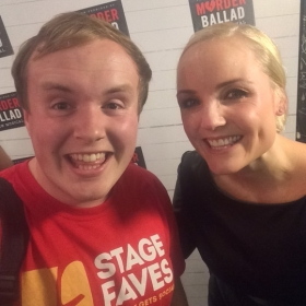#StageFaves vlogger Perry O'Bree with Kerry Ellis at the West End premiere of Murder Ballad, 5 October 2016