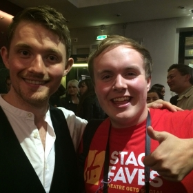 #StageFaves vlogger Perry O'Bree with Matthew Harvey at the West End premiere of Murder Ballad, 5 October 2016