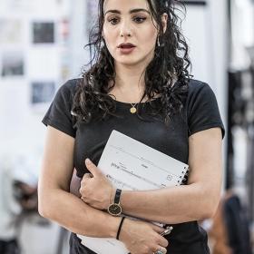 Victoria Hamilton-Barritt in Murder Ballad rehearsals