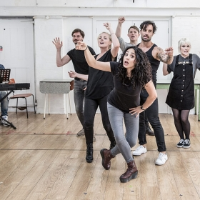 The cast of Murder Ballad in rehearsals