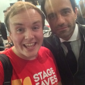 #StageFaves vlogger Perry O'Bree with Ramin Karimloo at the West End premiere of Murder Ballad, 5 October 2016