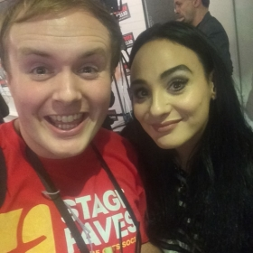 #StageFaves vlogger Perry O'Bree with Victoria Hamilton-Barritt at the West End premiere of Murder Ballad, 5 October 2016