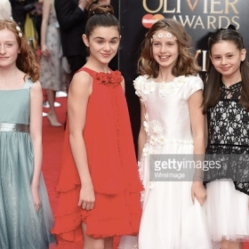 Isabella Pappas (red dress) 2015 Olivier Award Nominee Best Supporting Actress The Nether